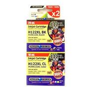 Pack X2  Tinta Hp 122 Xl Color  Y Negro Pacific Color