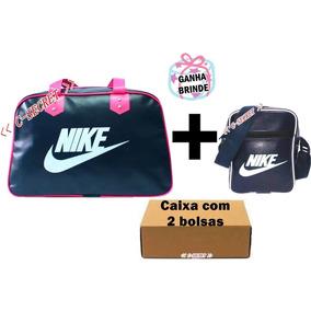 Bolsa Nike Feminino Azul Preto Kit 2 Grande Pequena+brinde