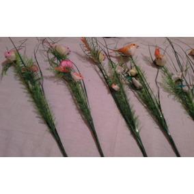 Flor Plastica Con Pajaritos Adornos
