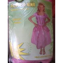 Vestido Reina Princesa Niña Carnaval Rosado