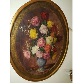 C4 Òleo Oval Enmarcado Rolf Regele - Flores - Art. 1822