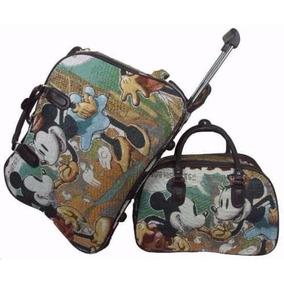Kit Mala Grande Bolsa De Viagem Com Rodinha Mickey Minnie