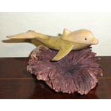 Escultura / Figura Tallada Madera En Nudo De Arbol, Delfin
