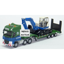 Miniatura Caminhão Prancha + Trator Escavadeira Kdw Esc 1/55