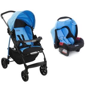 Conjunto Carrinho E Bebê Conforto Ecco Íris Azul Burigotto