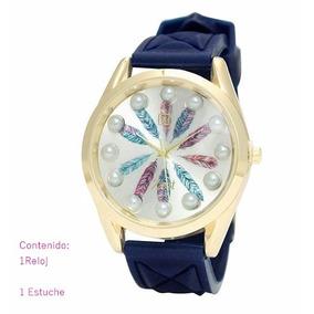 Reloj De Pulso Diseño Plumas Caucho Azul. + Estuche.