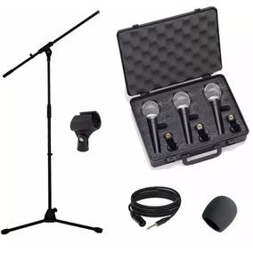Set 3 Micrófonos Samson R21 Soportes Cables 10 Mts Pipetas