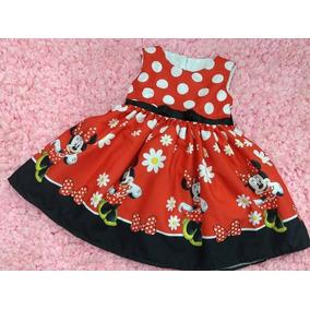 Vestido Festa Temático Luxo Rodado Minnie Flor Bolinha