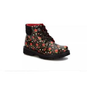 Botas Negras Estanpadas Con Flores Para Niña, Ankle Boot