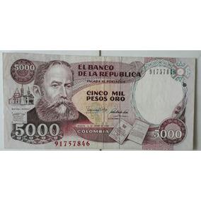 Billete Antiguo De $5000 Hecho En Colombia De 1990!!!