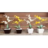 Arranjo Artificial Mini Orquídea Chuva De Ouro E Prata