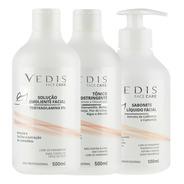 Kit Limpeza De Pele Sabonete Líquido Facial + Solução Emoliente + Tônico Adstringente - Vedis