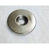 Poderoso Iman Circular Neodimio 30 X 3 Con Hueco 5 Mm. N35