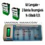 Carregador Pilhas Aa Aaa C D + 2 Baterias Flex 450 9v Cb795
