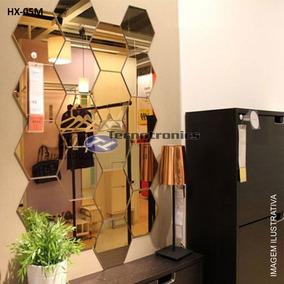Espelho Em Acrilico Decorativo Hexagonal Kit Com 5 Peças