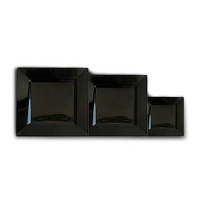 Set Platos Negros Cuadrados Playo Hondo Postre 18 Piezas