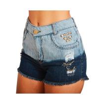 Shorts Jeans Customizado Cintura Alta Destroyed