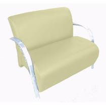 Poltrona Dupla Cadeira Dois Lugares Suede Recepção Bege