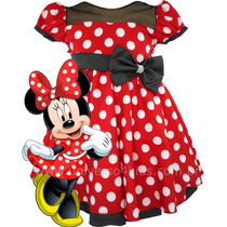 Vestido De Festa Infantil Minnie Vermelha Bolinnhas Brancas