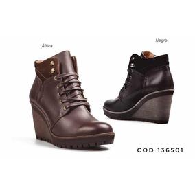 Botines Botas Zapatos Mujer Hecho En Cuero Cuña 8