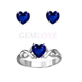 Anillo Y Aretes Broqueles En Plata Y Zafiros Azul Corazón