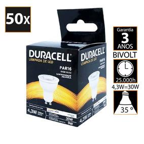 Kit Com 50 Lâmpada De Led Duracell Dicroica Amarela 4.3w -