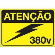 Placa De Alerta Para Painéis Elétricos Auto Adesiva 380v