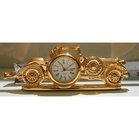 Mini Reloj De Escritorio Baño De Oro Auto Antiguo Remate