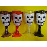 04 Taças Decoração Halloween 18cm Acrilico Caveira Dracula