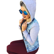 Jaqueta Blusa Jeans Moletom Com Toca, Feminina, Moda 2017