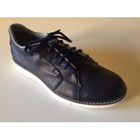 Zapatos Hombre Cuero Azul Moda Micro Perforado