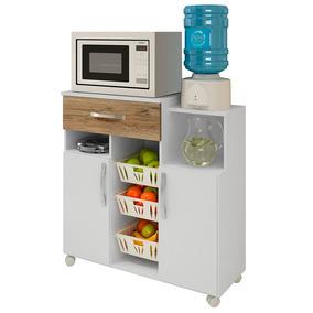 Armário Para Cozinha Com Fruteira Jandaia Branco E Canela