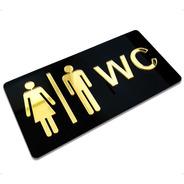 Placa Indicativa Banheiro Masculino E Feminino Wc Acrílico