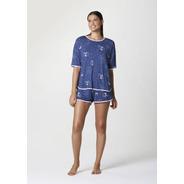 Pijama Curto Feminino Em Malha Estampada Hering - Azul