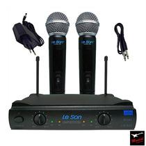 Microfone Sem Fio Duplo De Mão Uhf Leson Ls 902 Ht + Case