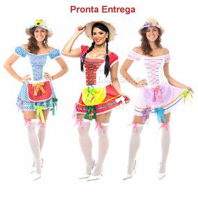 Roupa Caipira Vestido Saia Festa Junina Conjunto Junino