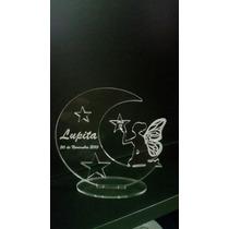 Souvenir Luna Con Hada Acrilico,15 Años,bautismos,cump