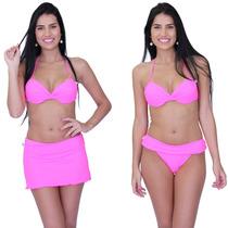 Biquíni Bojo Saída Banho 4010 Pink Saia Embutida Corpo
