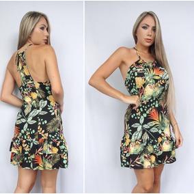 Vestido Floral Florido Curto Sem Manga Moda Verão Viscolycra