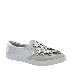 Zapato Casual Tierra Bendita Deluxe 1205 Plata Con Flores