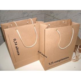 Sacolas Papel Kraft 110 Grs. 35 X 34 X 10 C/ Ilhós Kit C/100
