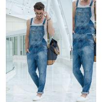 Macacão Jardineira Masculina Jeans Estilo Europeu 36-48