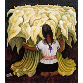 Lienzo, Tela, Diego Rivera, Vendedora Alcatraces, 80x90cm