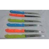 Cuchillo Parrillero 6 Piezas En Acero Inoxidable En Colores