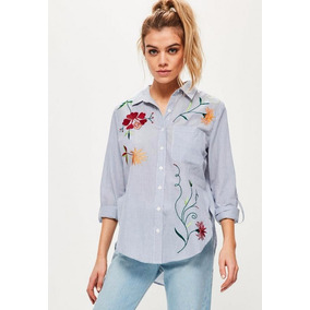 Camisa Bordada Floreado Rayas Informal Mujer