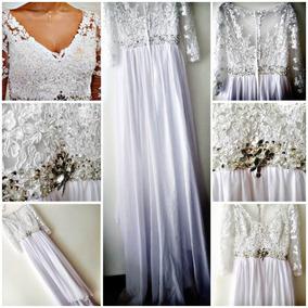 Vestido De Novia Matrimonio Color Blanco Bordado A Mano