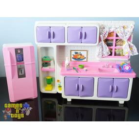 Cozinha E Geladeira Para Bonecas Serve Susi Casa Da Barbie