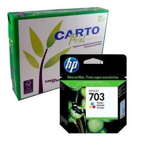 Combo Hp 703 Advantage-tricolor + Resma Carta Cartoprint