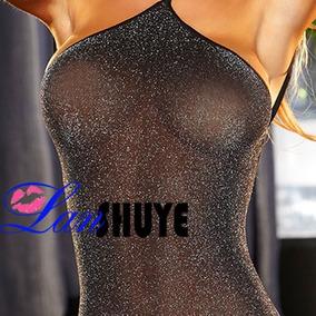 Micro Vestido Transparente 2a Pele Com Brilho Frente Unica