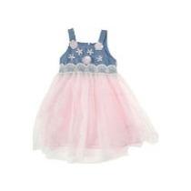 Vestido Tull Tutu Barbie Rosa Azul Denim Princesa T 10